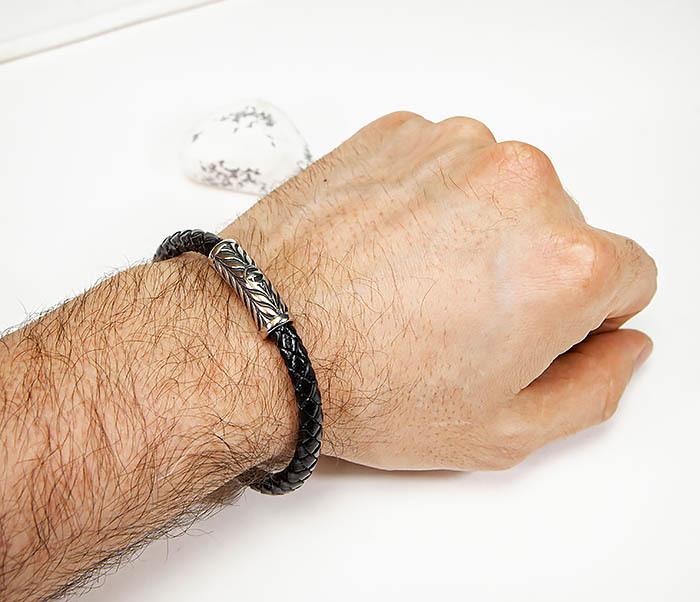 BM583 Мужской браслет шнур из кожи на магнитной застежке фото 08