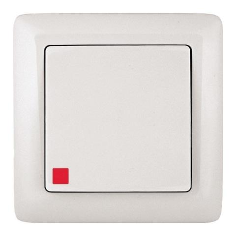 Выключатель одноклавишный с подсветкой 6 А 250 В. Цвет Белый. Schneider Electric(Шнайдер электрик). Hit(Хит). VS16-135-B