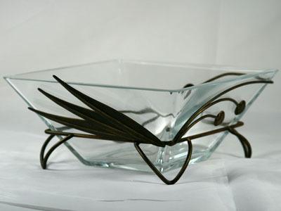 Ваза стекло с металлом W-021