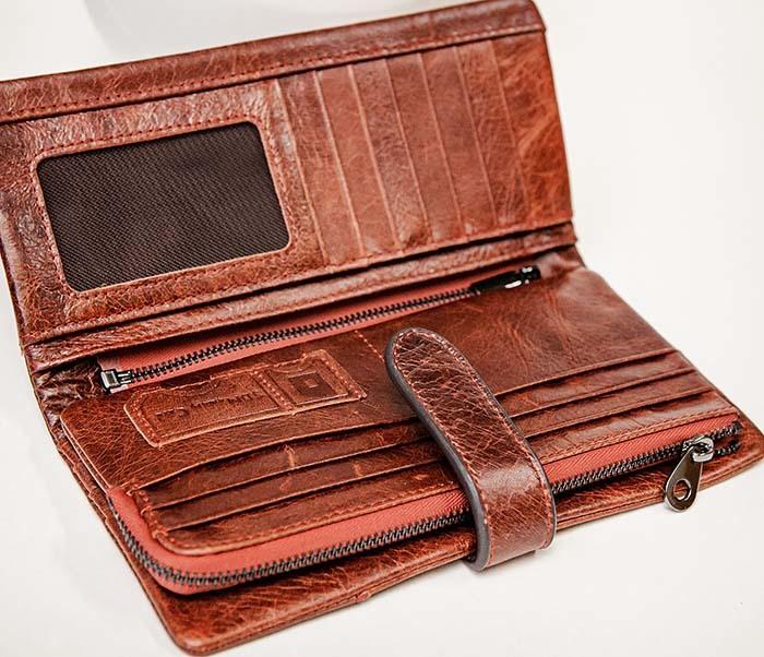 WL252-5 Кожаный клатч красного цвета фото 04