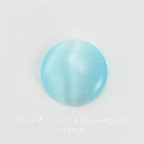 Кабошон круглый Кошачий глаз голубой, 10 мм ()