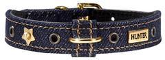 Ошейник для собак, Hunter Jeans petit 30 (23-27 см), джинса/кожа синий, золотистая фурнитура