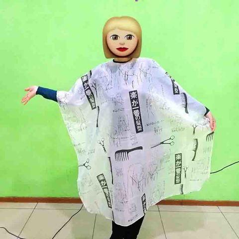 Пеньюар парикмахерский (белый с рисунком) крепление на липучке 100x140 см