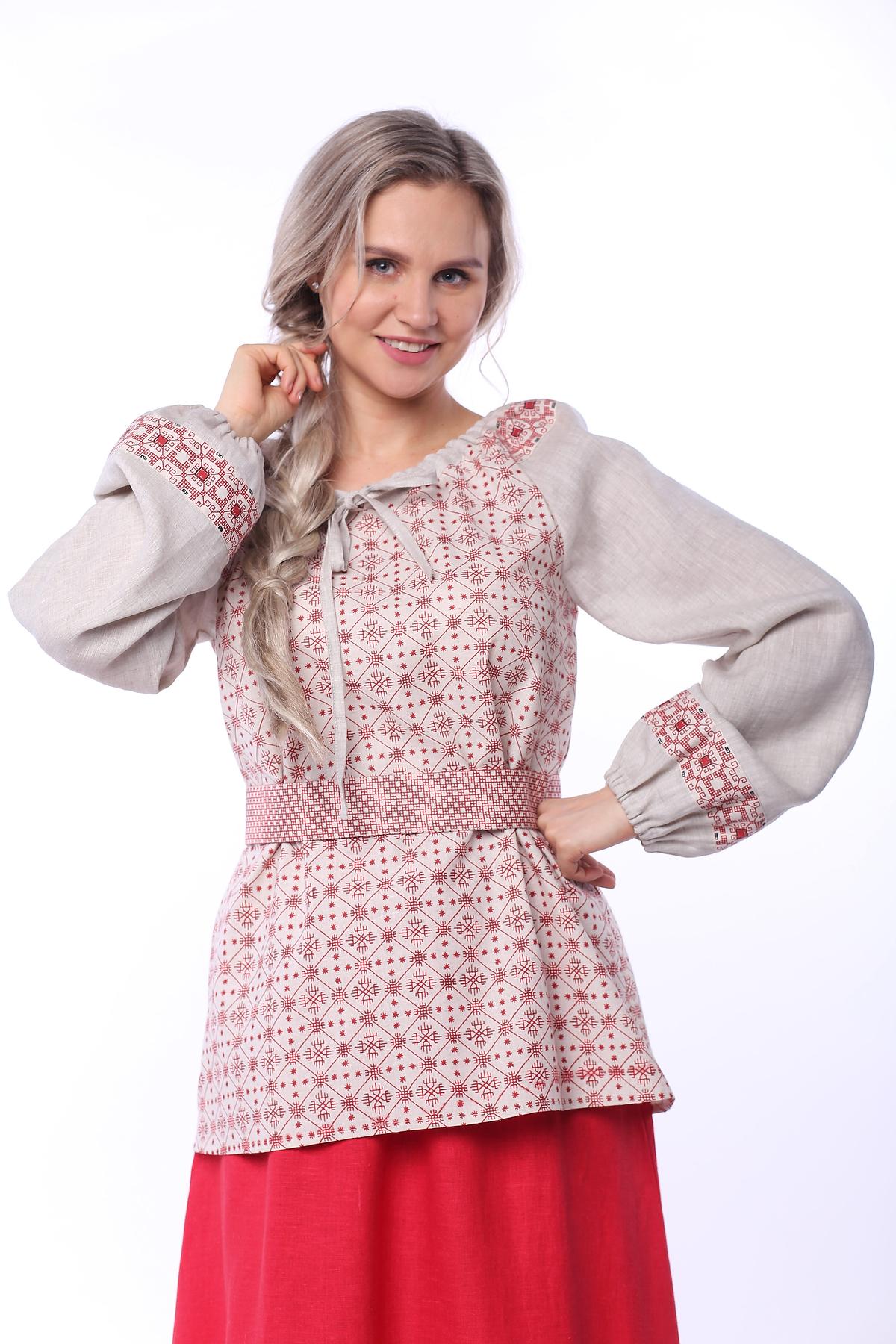 Блуза льняная Макошь на сером увеличенный фрагмент