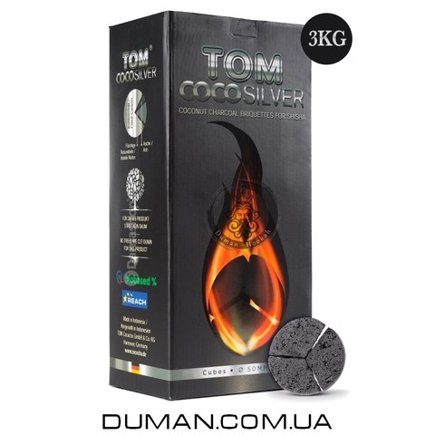 Натуральный кокосовый уголь для кальяна Tom Cococha Silver 3/3 (Том Кокоча) |3кг 180шт 50*27мм под калауд