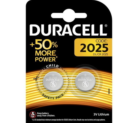 Батарейки литиевые Duracell CR 2025, 3V (2/20) BL