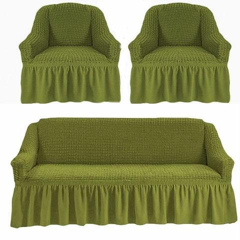 Набор чехлов для дивана 3+1+1 зеленый