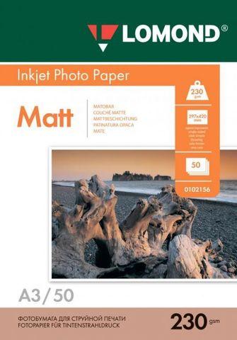 Односторонняя матовая фотобумага Lomond для струйной печати, A3, 230 г/м2, 50 листов (0102156)