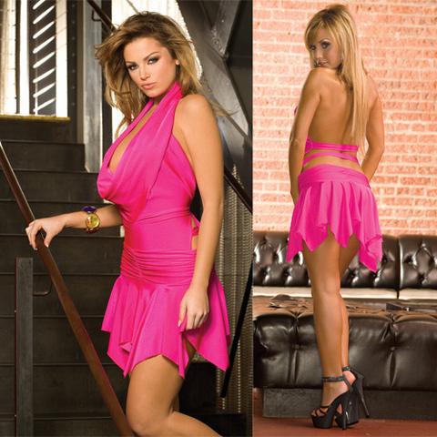 Клубное платье с асимметричной юбкой. Розовое. CL083