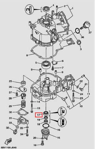 Сальник коленвала нижний 20×30×7 для лодочного мотора F5 Sea-PRO(4-17)