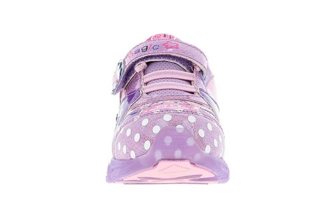 Светящиеся кроссовки Свинка Пеппа (Peppa Pig) на липучках для девочек, цвет сиреневый. Изображение 2 из 5.