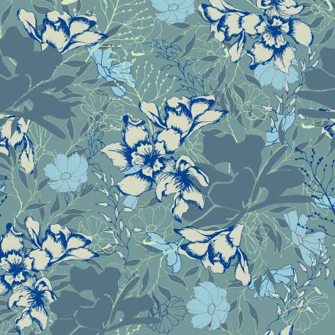 Голубой цветочный фон