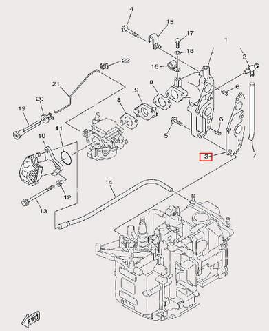Прокладка коллектора для лодочного мотора F9,9 Sea-PRO (6-3)