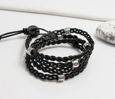 BS751 Необычный плетеный браслет в несколько оборотов