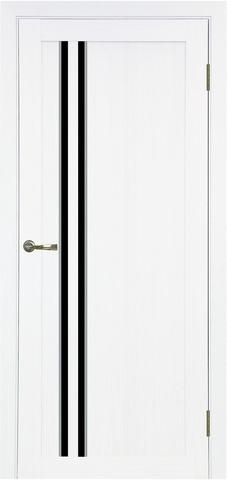 Дверь Optima Porte Турин 525.121АПС молдинг SC, стекло лакобель чёрное, цвет белый монохром, остекленная