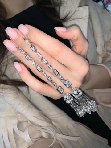 Серебряные серьги Tassel с подвесками кисточками и дополнительными элементами
