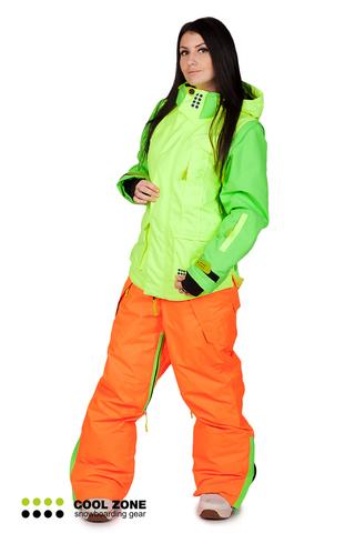 Сноубордический комбинезон Cool Zone 3в1 салат-оранжевый женский