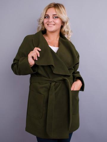 Софи. Стильное пальто плюс сайз. Олива.