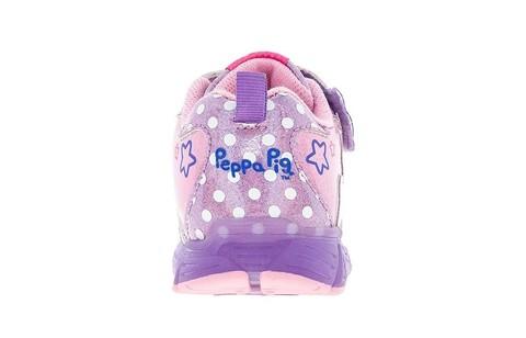 Светящиеся кроссовки Свинка Пеппа (Peppa Pig) на липучках для девочек, цвет сиреневый. Изображение 4 из 5.