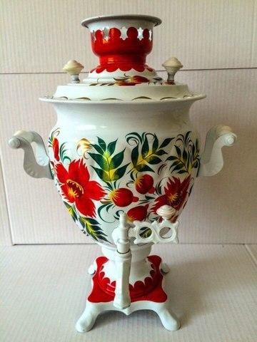 Самовар электрический трехлитровый с росписью «красные цветы в стиле гжель»