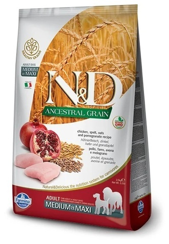 Сухой беззерновой корм для собак Farmina N&D Chicken & Pomegranate Adult с курицей и гранатом, 12 кг