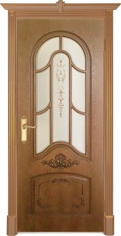 Дверь Prestigio Болония, цвет мореный дуб/патина орех, остекленная