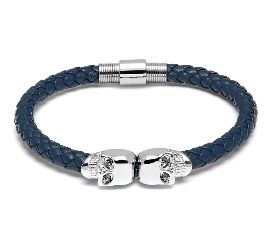 Northskull Браслет Northskull Denim Blue Nappa Leather / Silver Twin Skull Bracelet из натуральной кожи c9238d57e1ff860c3d00404319f70bd3.jpg