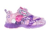 Светящиеся кроссовки Свинка Пеппа (Peppa Pig) на липучках для девочек, цвет сиреневый. Изображение 1 из 5.