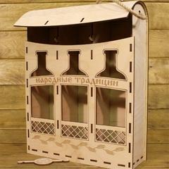 Коробка из фанеры для алкоголя Ранец на 3 бутылки
