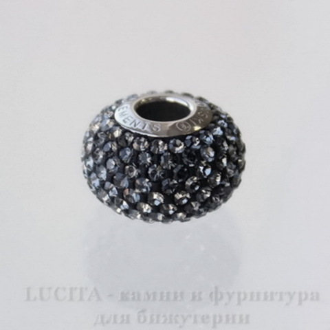 80101 Бусина Сваровски BeCharmed Pave Crystal Silver Night 14х9 мм