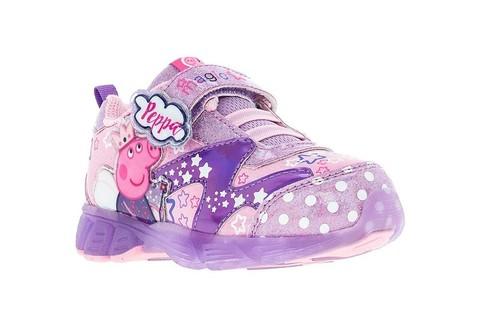 Светящиеся кроссовки Свинка Пеппа (Peppa Pig) на липучках для девочек, цвет сиреневый. Изображение 5 из 5.