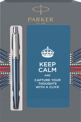 Подарочный набор с блокнотом и Шариковая ручка Parker Jotter Essential, Waterloo Blue CT