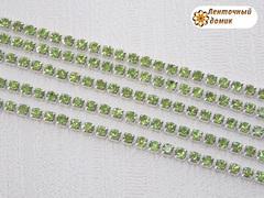 Цепь стразовая ss10 зеленые камни на серебре