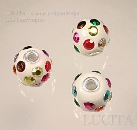 """Бусина """"Индонезийская"""" ручной работы белая с разноцветными стразами, 16 мм"""