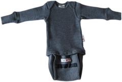 Боди/кофта с длинным рукавом ManyMonths, Серый меланж (шерсть мериноса 100%)