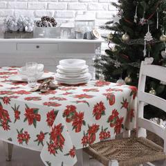 Скатерть 140x450 и 24 салфектки Vingi Ricami Armony красные цветы