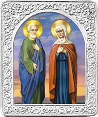 Святые Иоаким и Анна. Маленькая икона в серебряной раме.