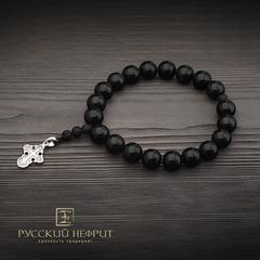 Чётки-браслет православные с крестом. Бусины Д 12мм из чёрного нефрита. 20 шт.