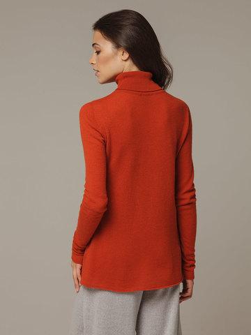 Женский оранжевый джемпер с высоким горлом из 100% кашемира - фото 3