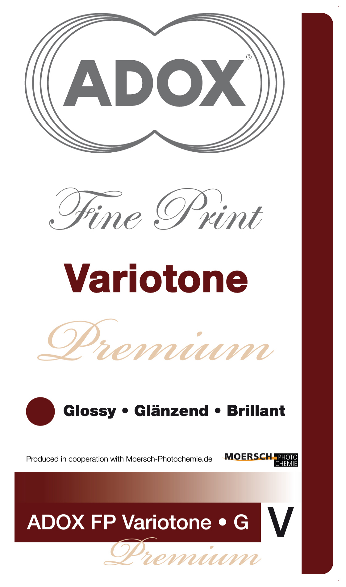 Фотобумага ADOX Variotone Premium Natural Fiber Base, глянцевая 30x40, 25 лКопировать товар