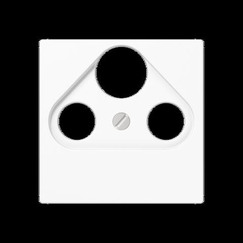 Розетка TV SAT FM универсальная, проходная, диапазон частот от 4 до 2400 MГц. Цвет Белый. JUNG A. S4110+A561PLSATWW