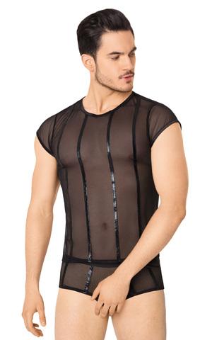 Костюм-сетка с полосками мужской SoftLine Collection (майка, шорты), чёрный, XL
