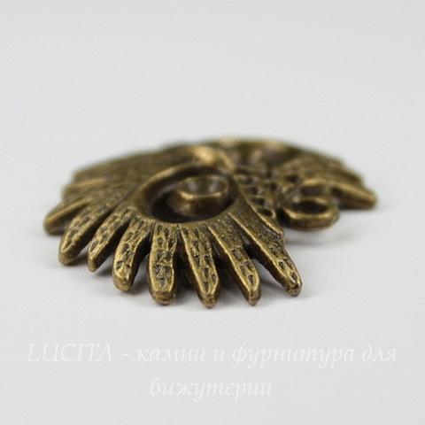 """Подвеска """"Голова совы"""" (цвет - античная бронза) 30х25 мм"""