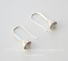 Швензы - крючки со штырьком для бусины, 22 мм (цвет - серебро), пара