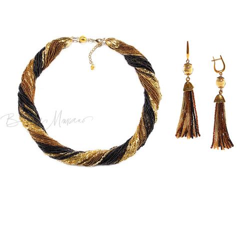 Комплект украшений золотисто-черный (длинные серьги из бисера, бусы из бисера 36 нитей)