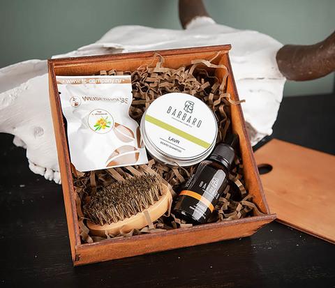 Подарочный набор средств для ухода за бородой с чаем