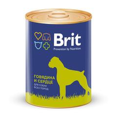 Консервы для собак, Brit Premium, с говядиной и сердцем