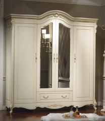 Шкаф 4-дверный с зеркалами Милано (8803-B MK-1838-IV) Слоновая кость