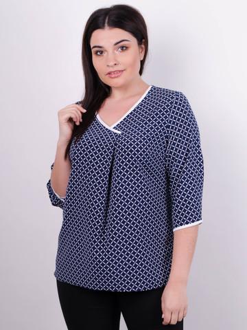 Леона принт. Стильна блуза size plus. Синій.