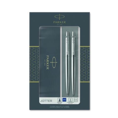 Набор из 2х ручек в подарочной коробке  «Паркер Джоттер Стэнли Стил Си Ти».  Шариковая ручка синяя и механический карандаш. Произведено во Франции.